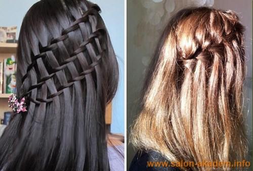 Коса водопад для волос средней длины