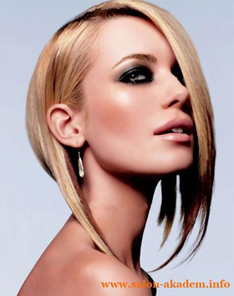 Ассиметричный боб на средние волосы фото