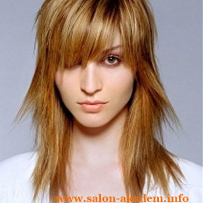 Рваный каскад с косой челкой на средние волосы