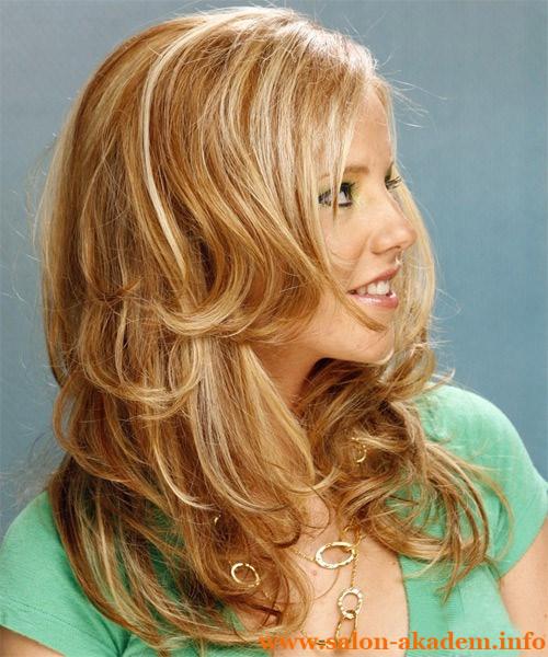 Каскад на длинные волосы волнистые
