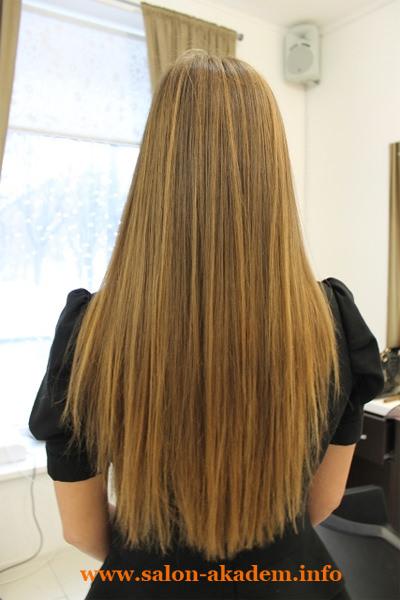 Каскад сзади на длинные волосы