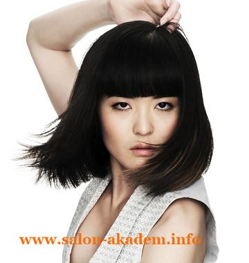 Стрижка боб на длинные волосы с челкой