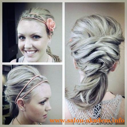 Греческие прически с повязкой на длинные волосы