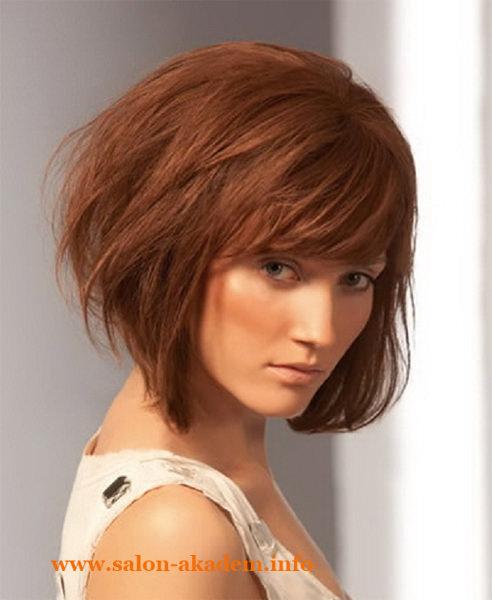 Стрижка боб на средние волосы с челкой фото