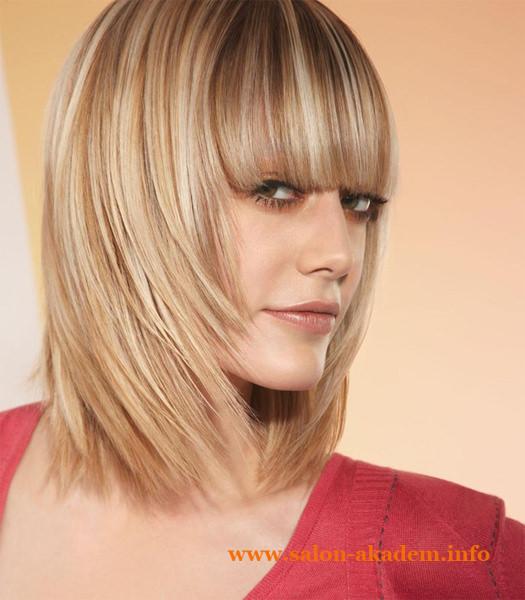 Прическа каскад с челкой на средние волосы фото