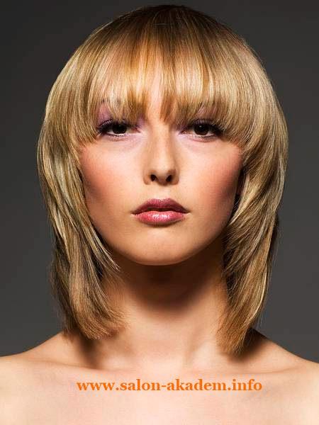 Стрижка каскад на средние волосы с короткой челкой