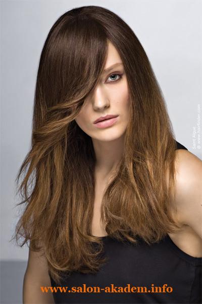 Стрижка каскад на длинные волосы с длинной челкой