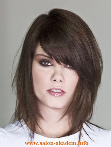 Каскад с косой челкой на длинные волосы фото